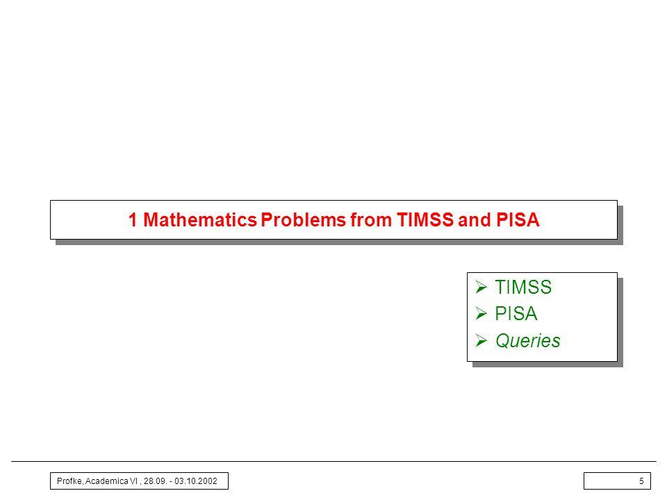 Profke, Academica VI, 28.09. - 03.10.20025 1 Mathematics Problems from TIMSS and PISA TIMSS PISA Queries TIMSS PISA Queries