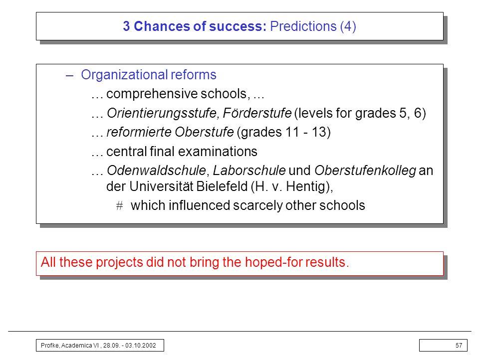 Profke, Academica VI, 28.09. - 03.10.200257 3 Chances of success: Predictions (4) –Organizational reforms …comprehensive schools,... …Orientierungsstu