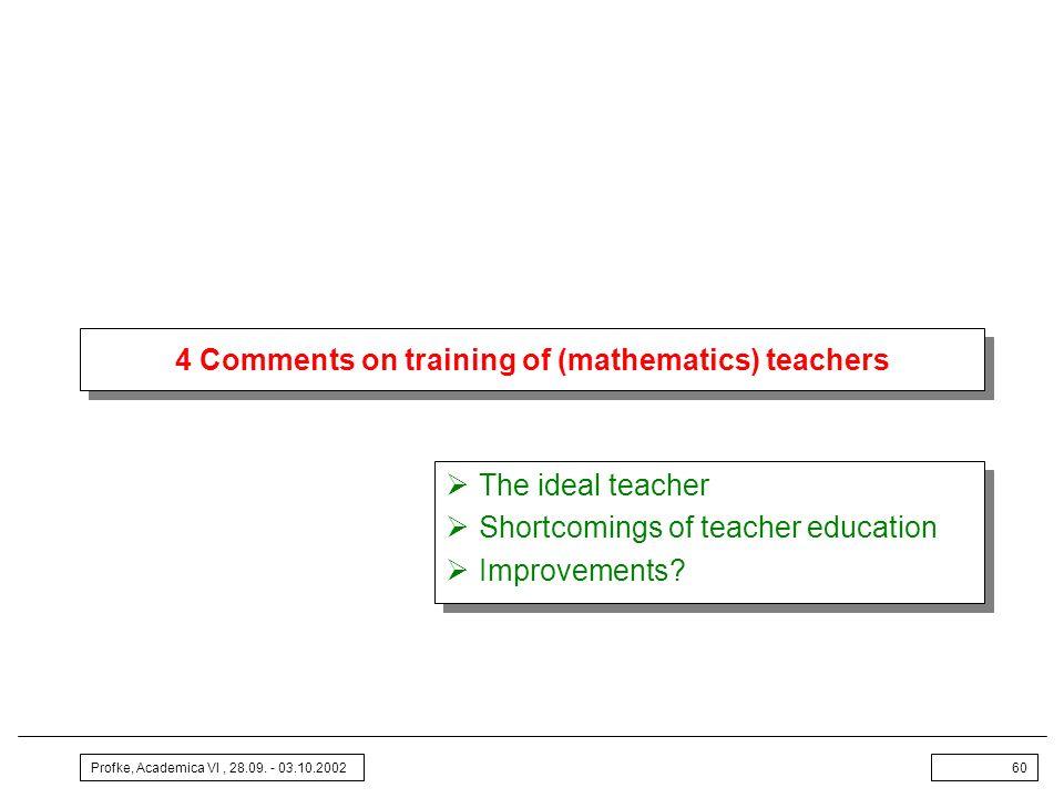 Profke, Academica VI, 28.09. - 03.10.200260 4 Comments on training of (mathematics) teachers The ideal teacher Shortcomings of teacher education Impro