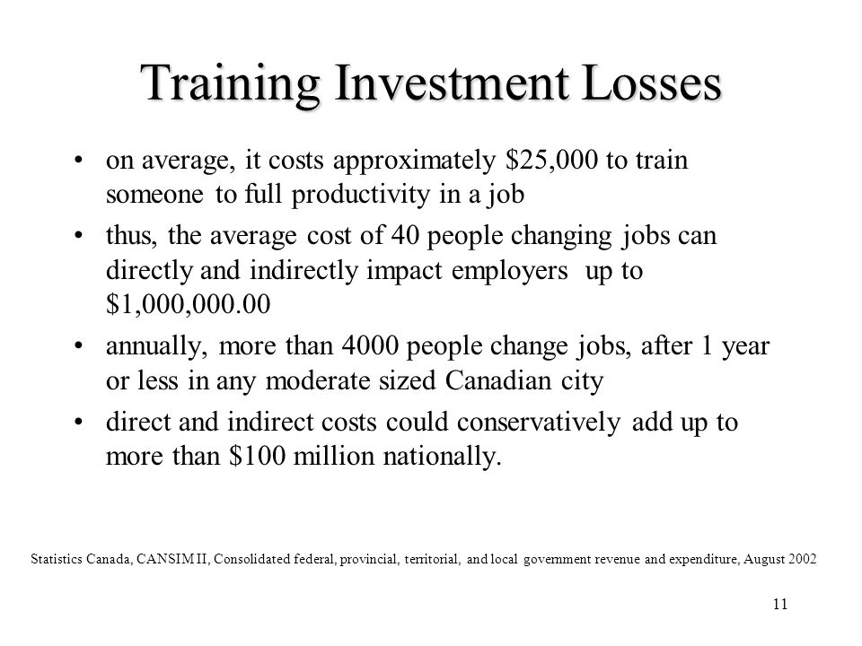 11 Training Investment Losses on average, it costs approximately $25,000 to train someone to full productivity in a job thus, the average cost of 40 p