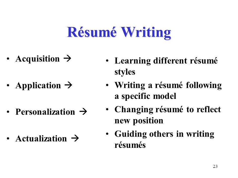 23 Résumé Writing Acquisition Application Personalization Actualization Learning different résumé styles Writing a résumé following a specific model C