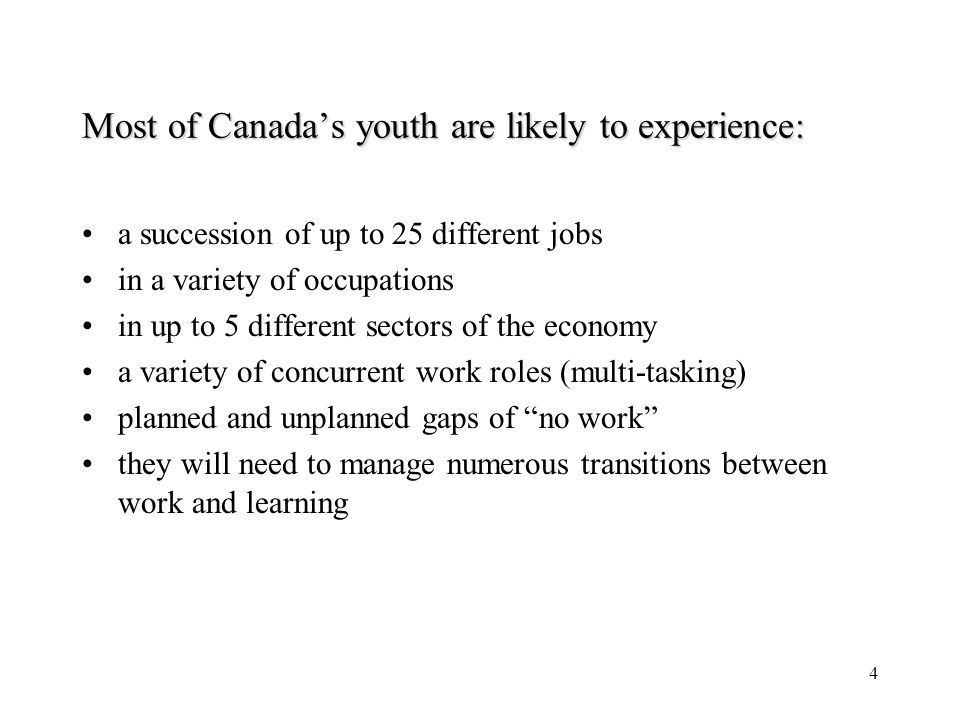 4 Most of Canadas youth are likely to experience: a succession of up to 25 different jobs in a variety of occupations in up to 5 different sectors of