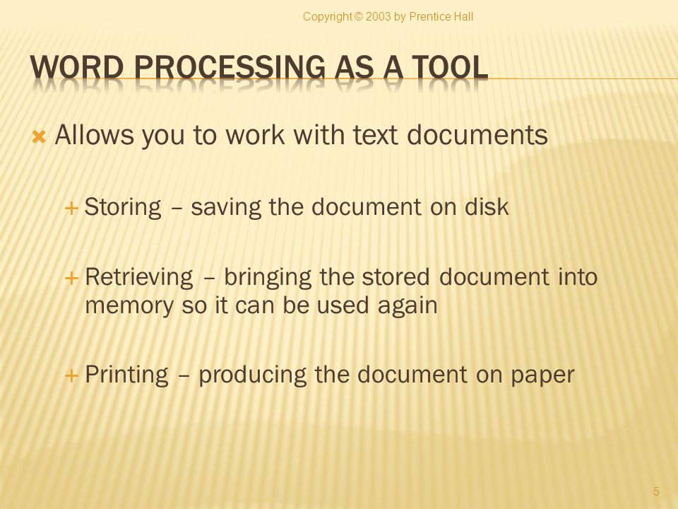 Allows you to work with text documents Storing – saving the document on disk Retrieving – bringing the stored document into memory so it can be used a