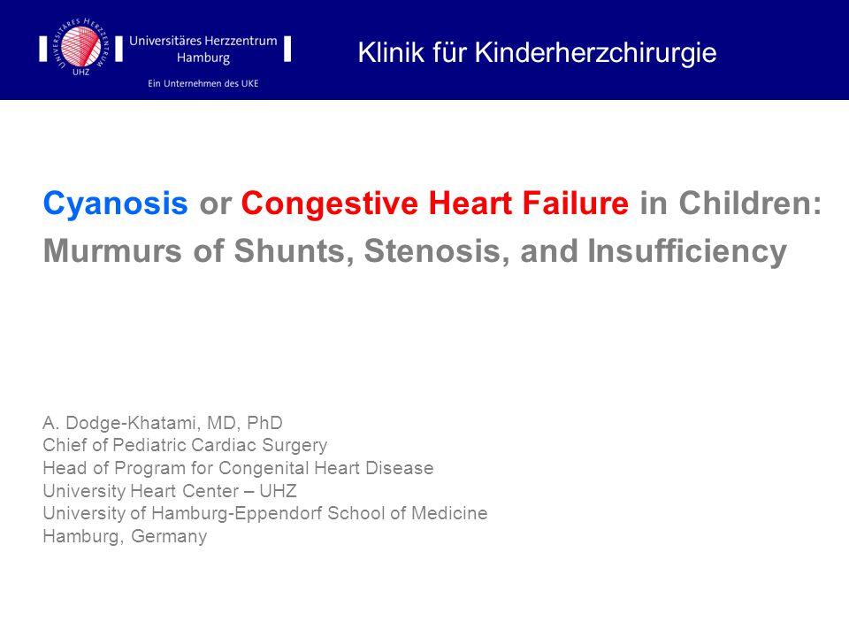 Cyanosis or Congestive Heart Failure in Children: Murmurs of Shunts, Stenosis, and Insufficiency A. Dodge-Khatami, MD, PhD Chief of Pediatric Cardiac