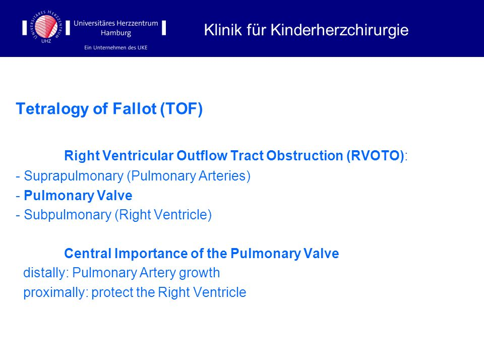 Tetralogy of Fallot (TOF) Right Ventricular Outflow Tract Obstruction (RVOTO): - Suprapulmonary (Pulmonary Arteries) - Pulmonary Valve - Subpulmonary