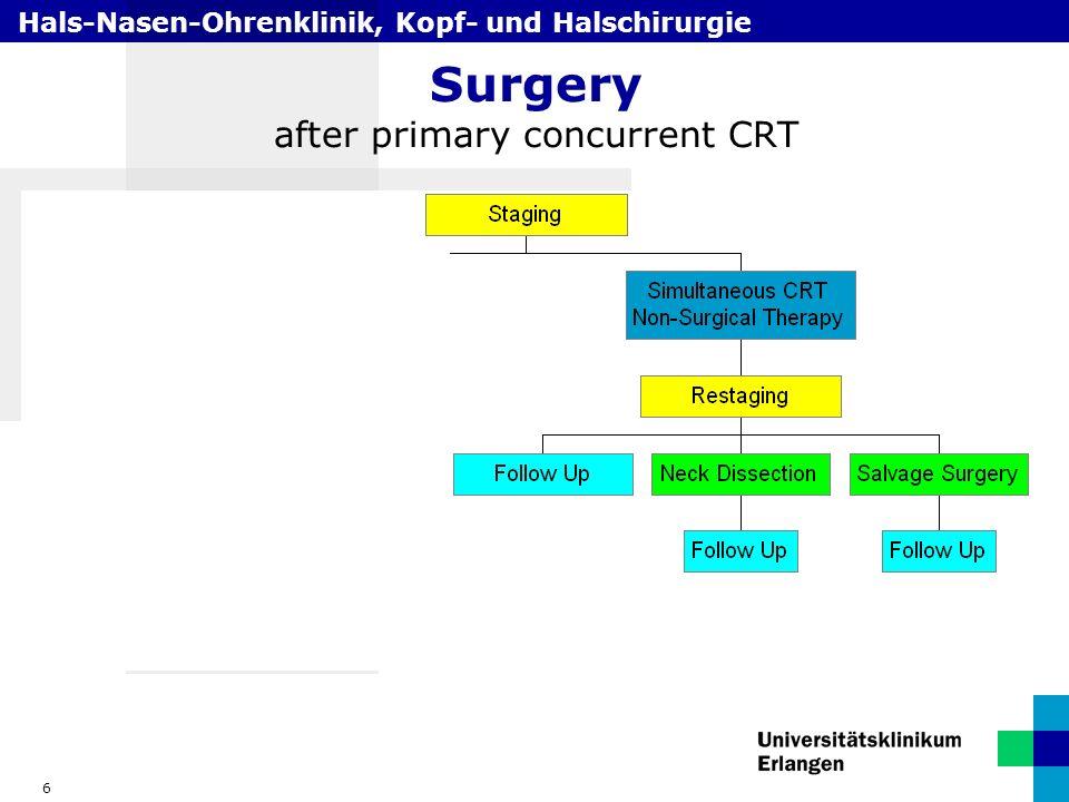 Hals-Nasen-Ohrenklinik, Kopf- und Halschirurgie 6 Surgery after primary concurrent CRT