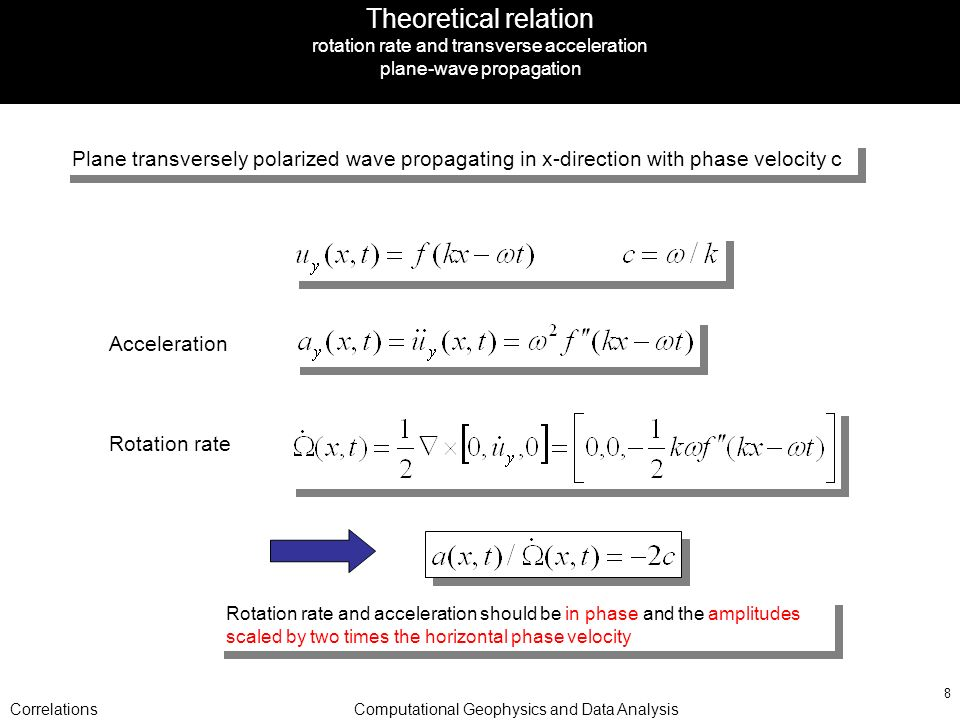CorrelationsComputational Geophysics and Data Analysis 8 Theoretical relation rotation rate and transverse acceleration plane-wave propagation Plane transversely polarized wave propagating in x-direction with phase velocity c Acceleration Rotation rate and acceleration should be in phase and the amplitudes scaled by two times the horizontal phase velocity Rotation rate