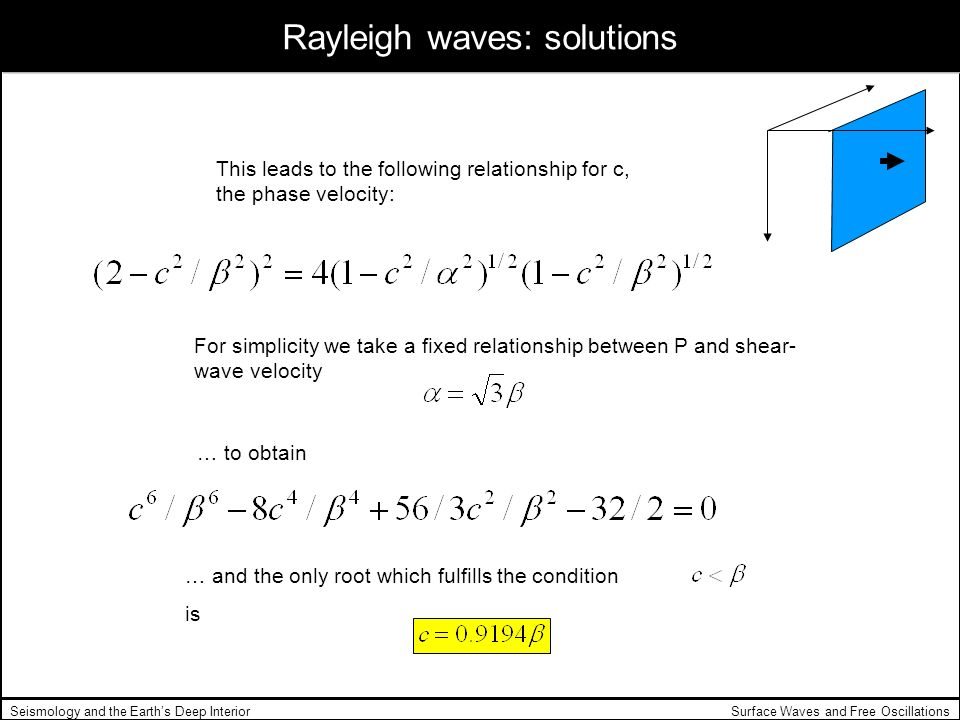 Surface Waves and Free OscillationsSeismology and the Earths Deep Interior Rayleigh waves: solutions This leads to the following relationship for c, t