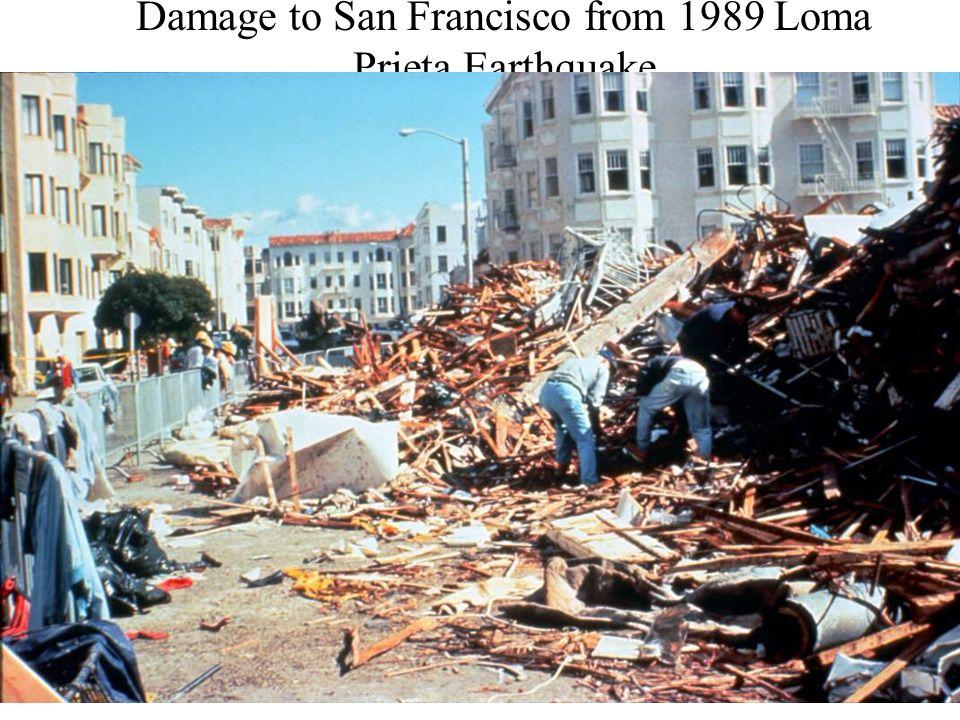 Damage to San Francisco from 1989 Loma Prieta Earthquake