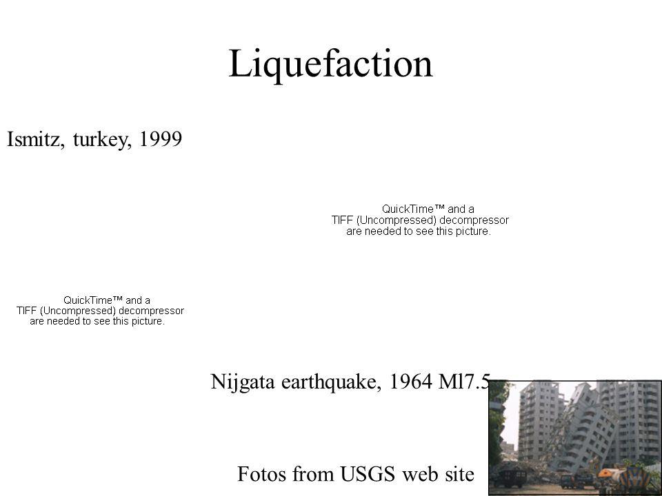 Liquefaction Nijgata earthquake, 1964 Ml7.5 Ismitz, turkey, 1999 Fotos from USGS web site