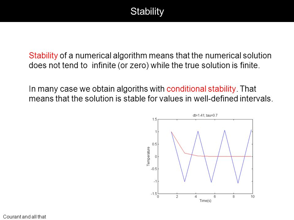 Courant and all that Stability Stability of a numerical algorithm means that the numerical solution does not tend to infinite (or zero) while the true