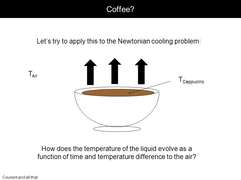 Courant and all that Coffee? Lets try to apply this to the Newtonian cooling problem: T Air T Cappucino How does the temperature of the liquid evolve