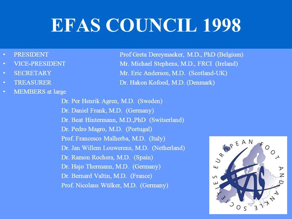 EFAS COUNCIL 1998 PRESIDENTProf Greta Dereymaeker, M.D., PhD (Belgium) VICE-PRESIDENTMr. Michael Stephens, M.D., FRCI (Ireland) SECRETARYMr. Eric Ande