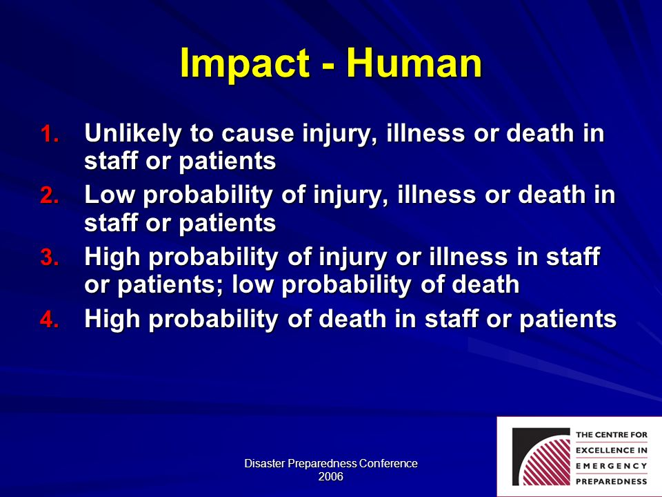 Disaster Preparedness Conference 2006 Impact - Human 1. Unlikely to cause injury, illness or death in staff or patients 2. Low probability of injury,