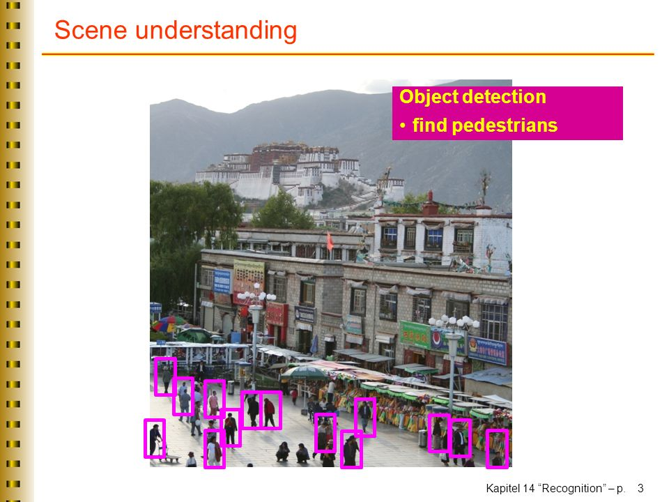 Kapitel 14 Recognition – p. 3 Scene understanding Object detection find pedestrians