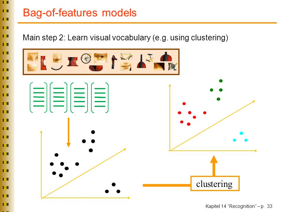 Kapitel 14 Recognition – p. 33 Bag-of-features models Main step 2: Learn visual vocabulary (e.g.
