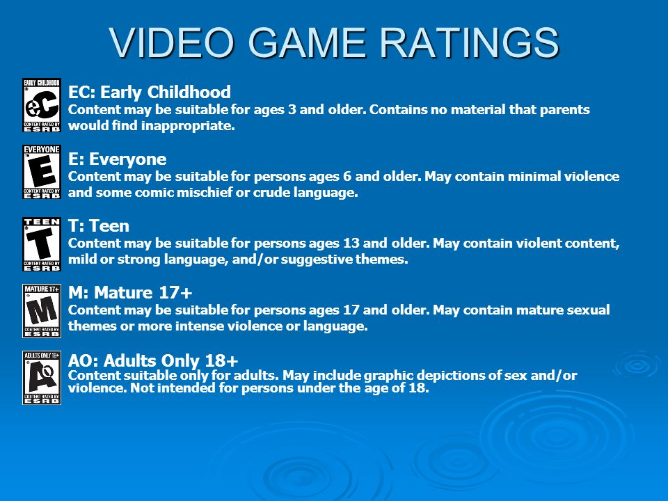 VIDEO GAME RATINGS EC: Early Childhood Content may be suitable for ages 3 and older.
