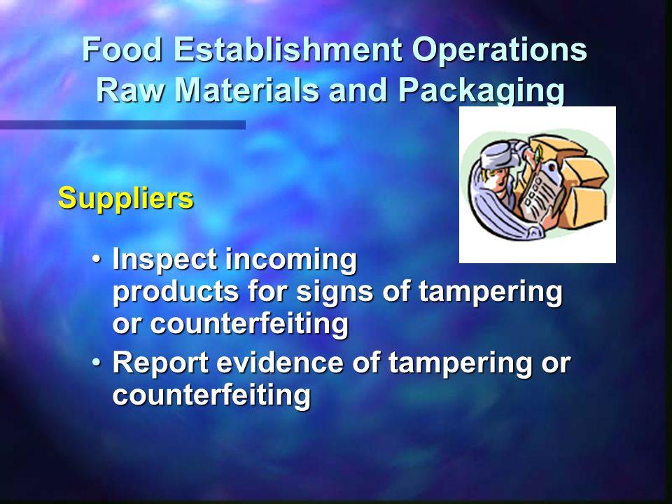 Food Establishment Operations Raw Materials and Packaging Food Establishment Operations Raw Materials and Packaging Suppliers Inspect incoming product