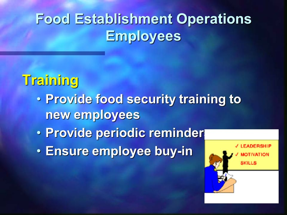 Food Establishment Operations Employees Training Provide food security training to new employeesProvide food security training to new employees Provid