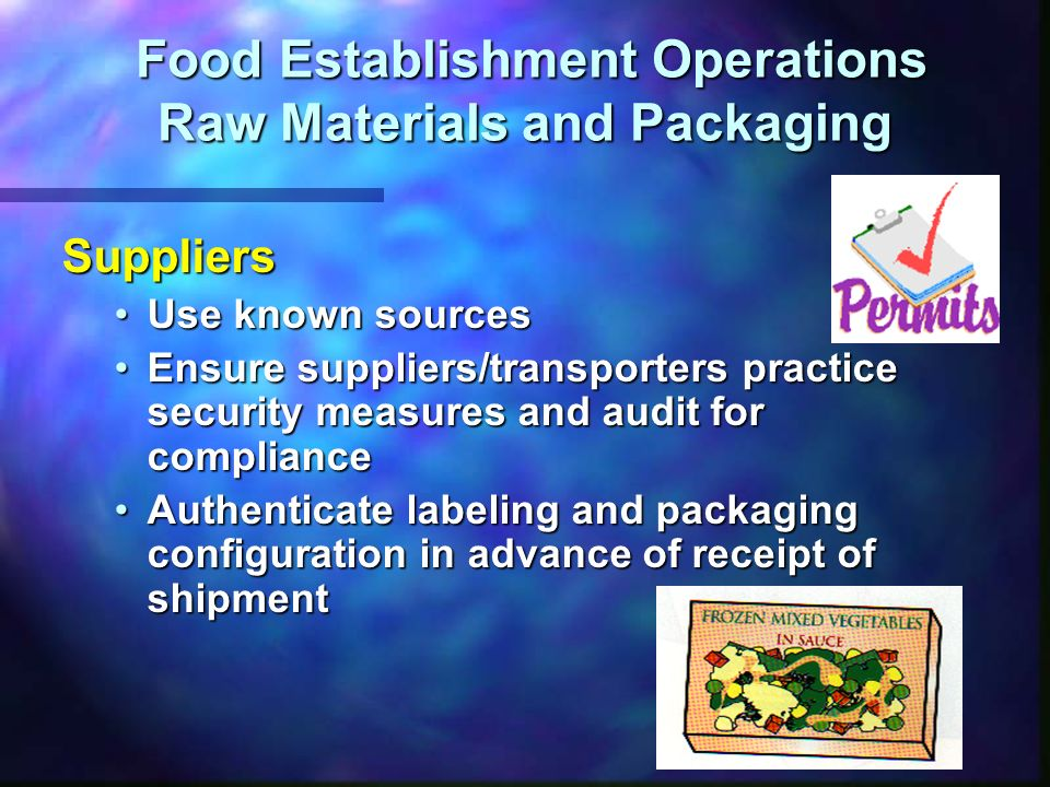 Food Establishment Operations Raw Materials and Packaging Food Establishment Operations Raw Materials and Packaging Suppliers Inspect incoming products for signs of tampering or counterfeitingInspect incoming products for signs of tampering or counterfeiting Report evidence of tampering or counterfeitingReport evidence of tampering or counterfeiting