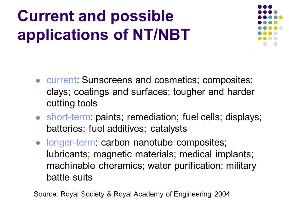 Current and possible applications of NT/NBT current: Sunscreens and cosmetics; composites; clays; coatings and surfaces; tougher and harder cutting to