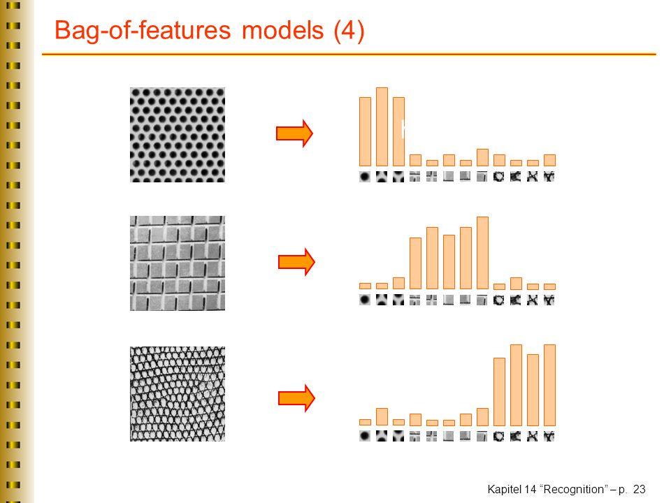 Kapitel 14 Recognition – p. 23 Bag-of-features models (4) Universal texton dictionary histogram