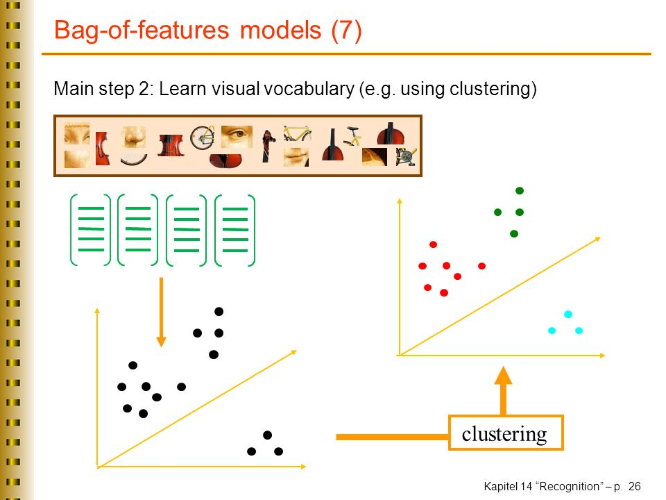 Kapitel 14 Recognition – p. 26 Bag-of-features models (7) Main step 2: Learn visual vocabulary (e.g. using clustering) clustering