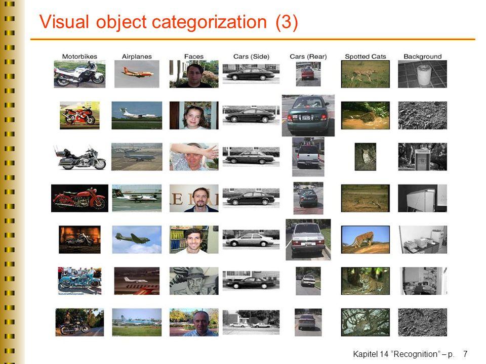 Kapitel 14 Recognition – p. 7 Visual object categorization (3)