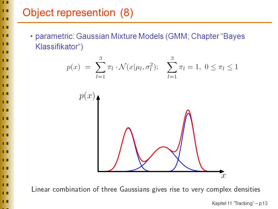 Kapitel 11 Tracking – p. 13 Object represention (8) parametric: Gaussian Mixture Models (GMM; Chapter Bayes Klassifikator)