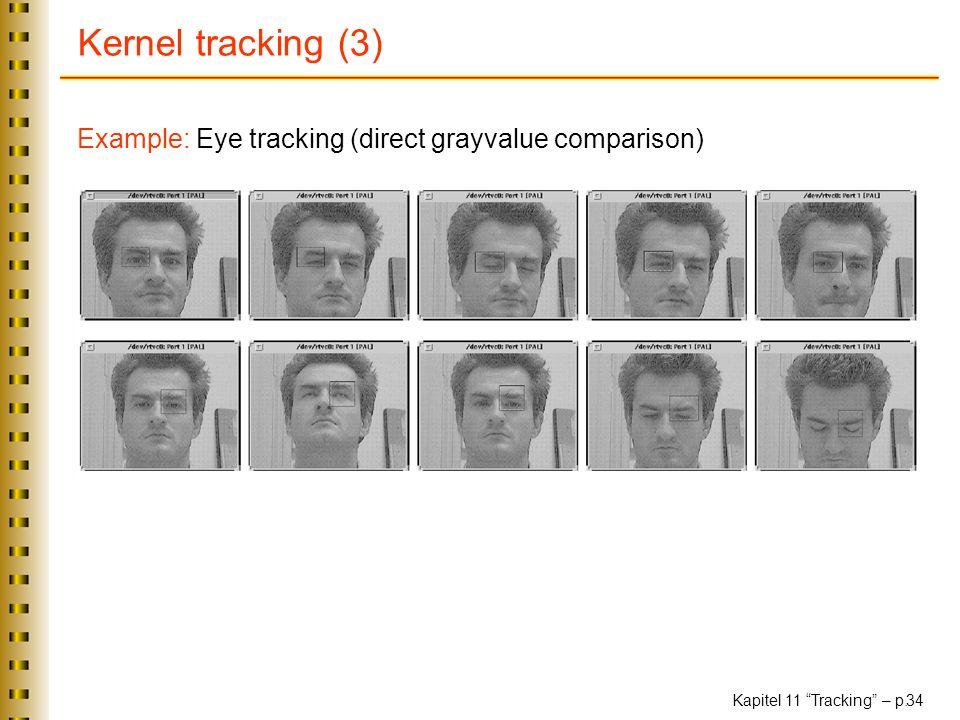 Kapitel 11 Tracking – p. 34 Kernel tracking (3) Example: Eye tracking (direct grayvalue comparison)