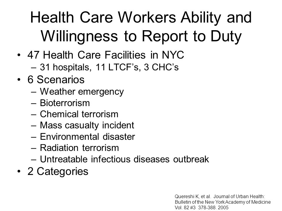 Health Care Workers Ability and Willingness to Report to Duty 47 Health Care Facilities in NYC –31 hospitals, 11 LTCFs, 3 CHCs 6 Scenarios –Weather em