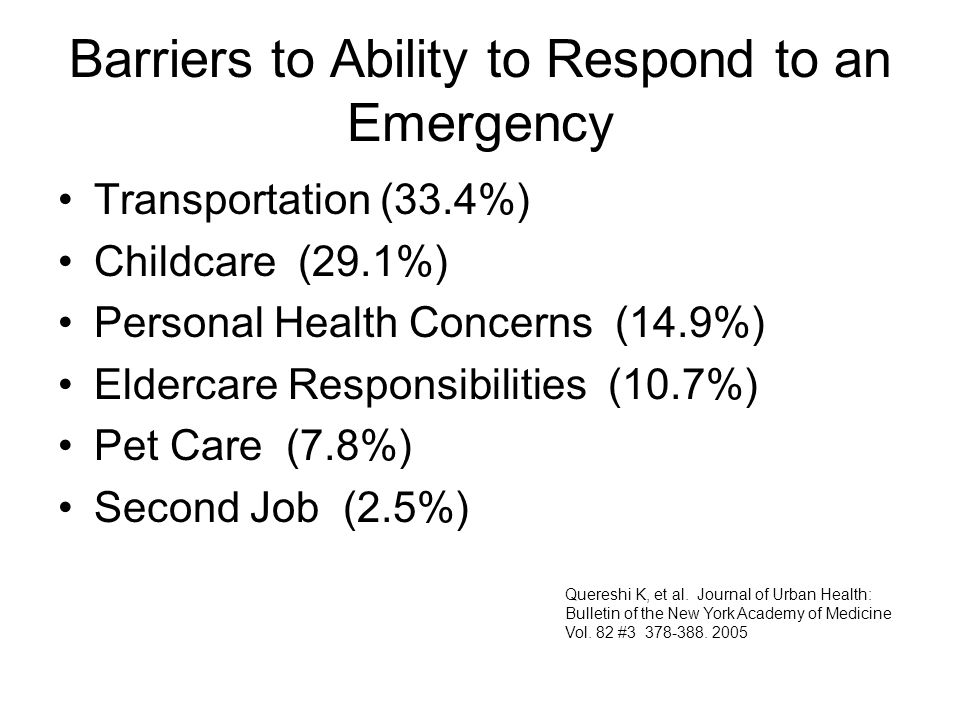 Barriers to Ability to Respond to an Emergency Transportation (33.4%) Childcare (29.1%) Personal Health Concerns (14.9%) Eldercare Responsibilities (1