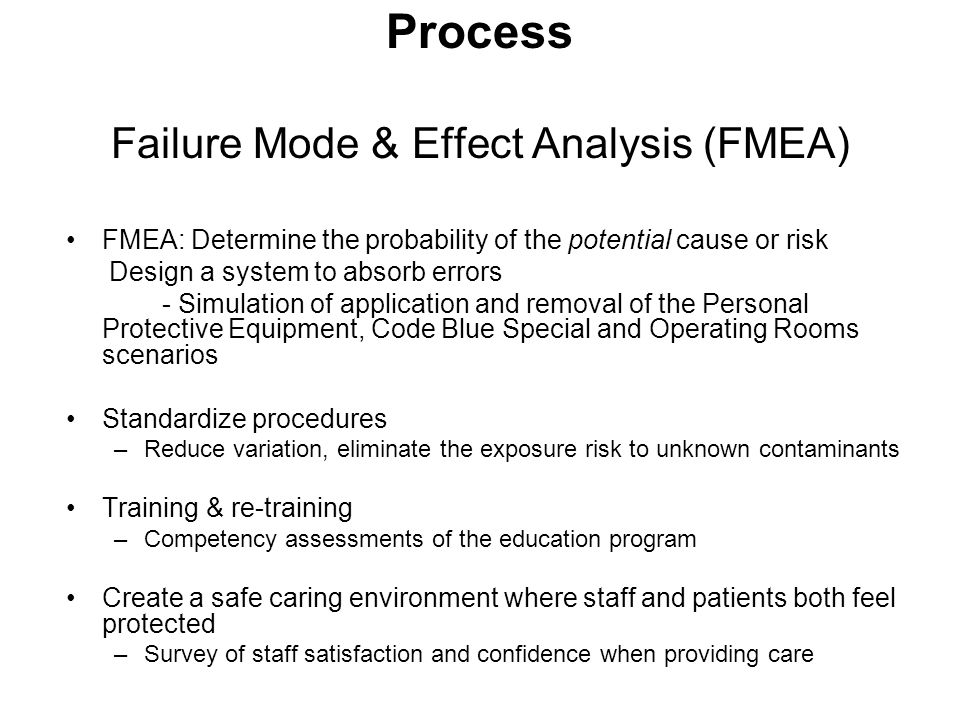Process Failure Mode & Effect Analysis (FMEA) FMEA: Determine the probability of the potential cause or risk Design a system to absorb errors - Simula