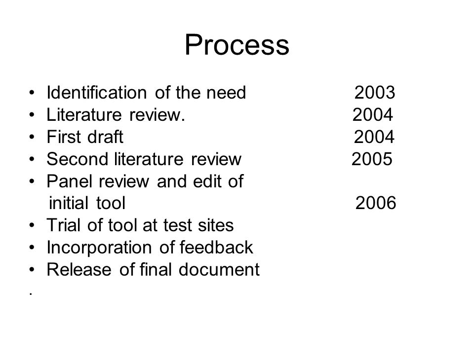 Process Identification of the need 2003 Literature review. 2004 First draft 2004 Second literature review 2005 Panel review and edit of initial tool 2