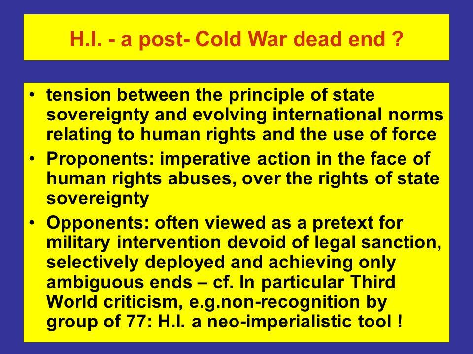 H.I.- a post- Cold War dead end .