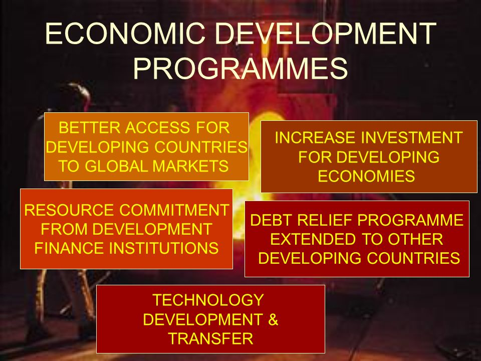 ECONOMIC DEVELOPMENT PROGRAMMES BETTER ACCESS FOR DEVELOPING COUNTRIES TO GLOBAL MARKETS INCREASE INVESTMENT FOR DEVELOPING ECONOMIES RESOURCE COMMITM