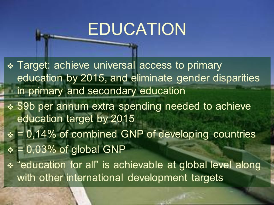 EDUCATION Target: achieve universal access to primary education by 2015, and eliminate gender disparities in primary and secondary education $9b per a