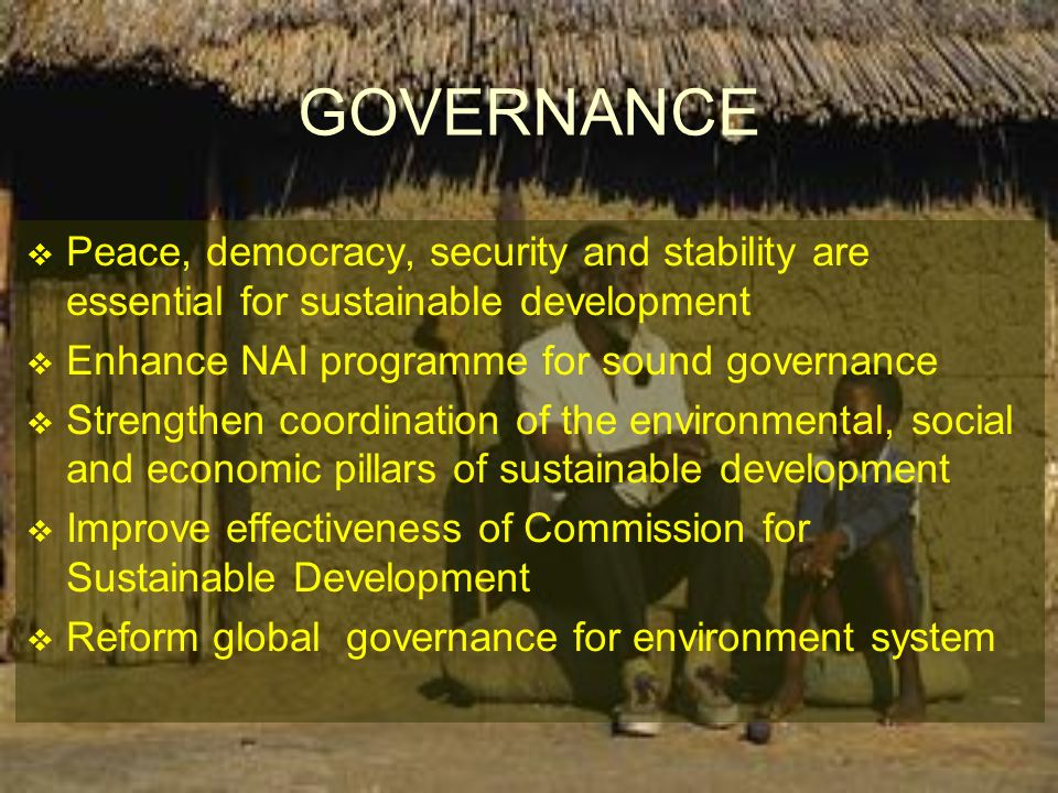 Peace, democracy, security and stability are essential for sustainable development Enhance NAI programme for sound governance Strengthen coordination