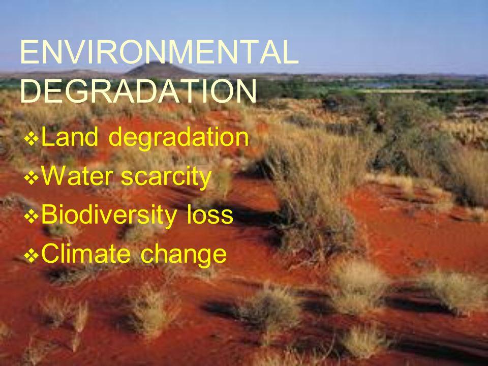 ENVIRONMENTAL DEGRADATION Land degradation Water scarcity Biodiversity loss Climate change