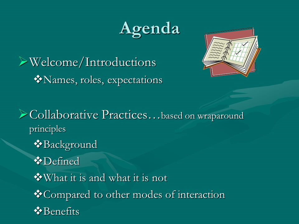 Agenda Welcome/Introductions Welcome/Introductions Names, roles, expectations Names, roles, expectations Collaborative Practices… based on wraparound