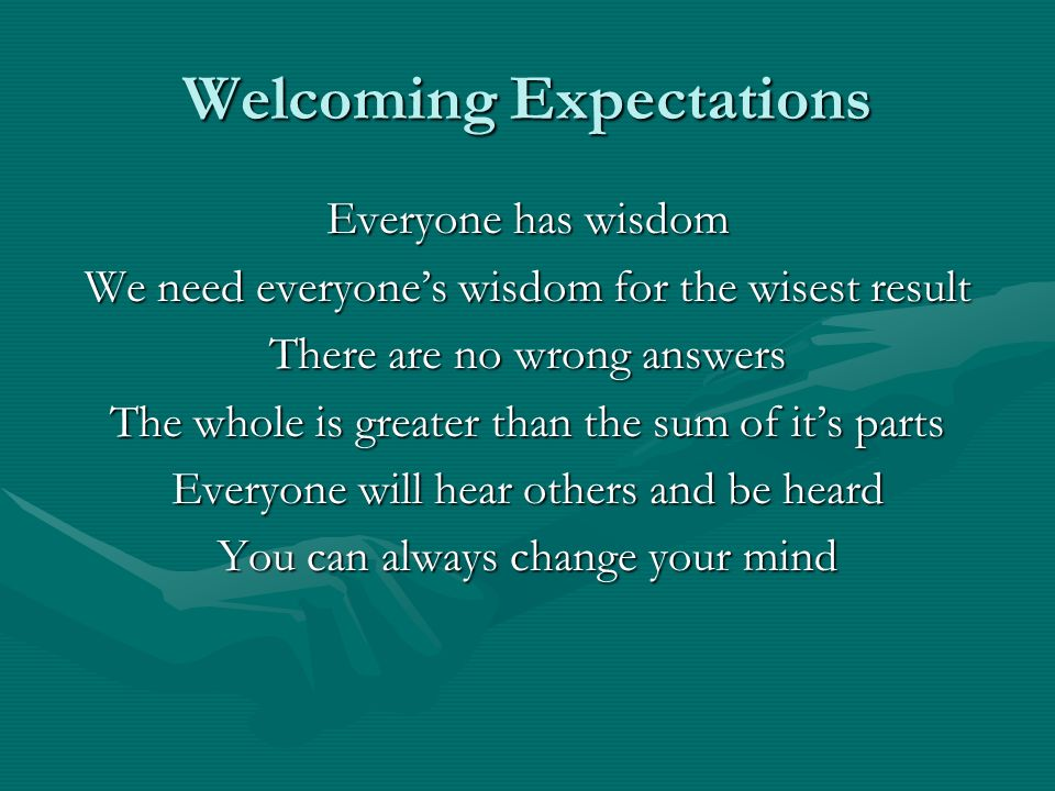 Welcoming Expectations Everyone has wisdom We need everyones wisdom for the wisest result There are no wrong answers The whole is greater than the sum