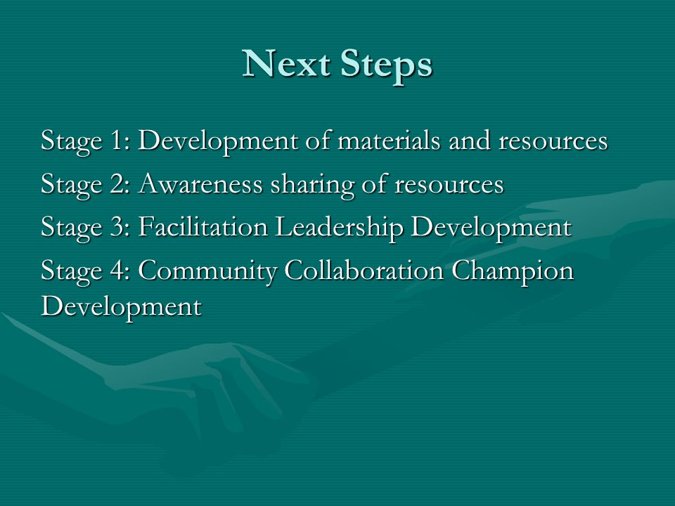 Next Steps Stage 1: Development of materials and resources Stage 2: Awareness sharing of resources Stage 3: Facilitation Leadership Development Stage
