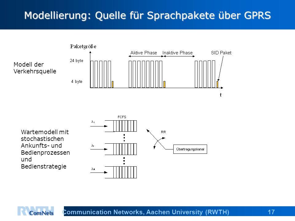 17Communication Networks, Aachen University (RWTH) Modellierung: Quelle für Sprachpakete über GPRS Modell der Verkehrsquelle Wartemodell mit stochasti
