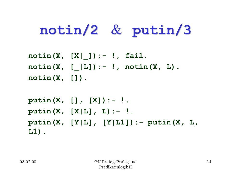 08.02.00GK Prolog: Prolog und Prädikatenlogik II 14 notin/2 & putin/3 notin(X, [X|_]):- !, fail. notin(X, [_|L]):- !, notin(X, L). notin(X, []). putin
