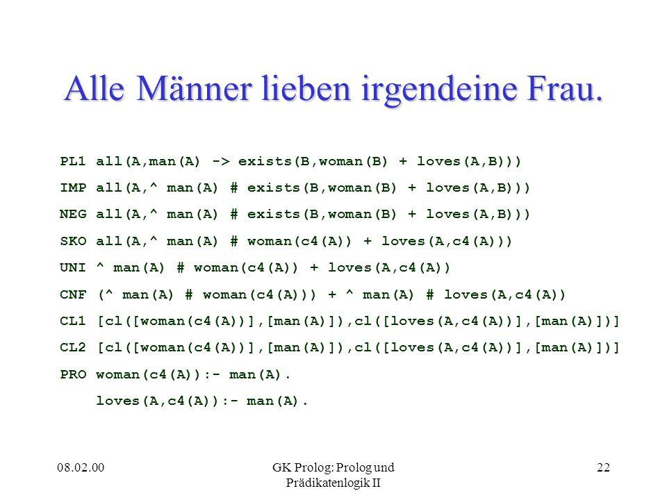 08.02.00GK Prolog: Prolog und Prädikatenlogik II 22 Alle Männer lieben irgendeine Frau. PL1 all(A,man(A) -> exists(B,woman(B) + loves(A,B))) IMP all(A