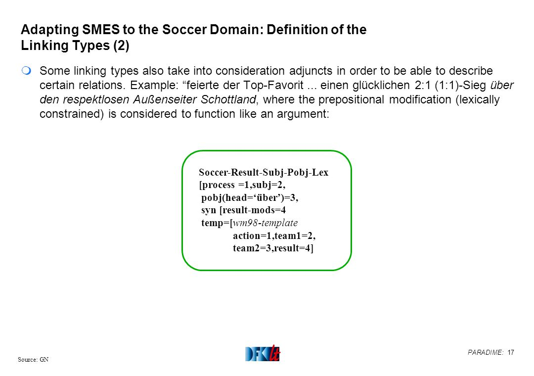 PARADIME: 17 Source: GN Adapting SMES to the Soccer Domain: Definition of the Linking Types (2) mSome linking types also take into consideration adjun