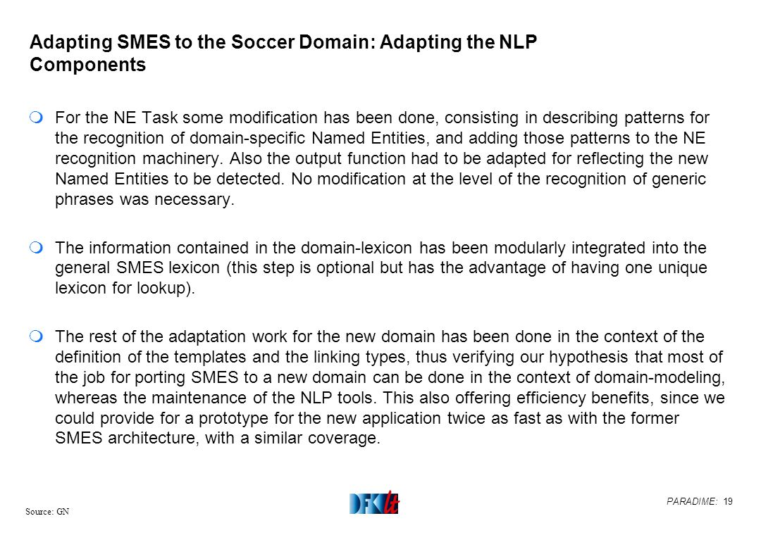 PARADIME: 19 Source: GN Adapting SMES to the Soccer Domain: Adapting the NLP Components mFor the NE Task some modification has been done, consisting i