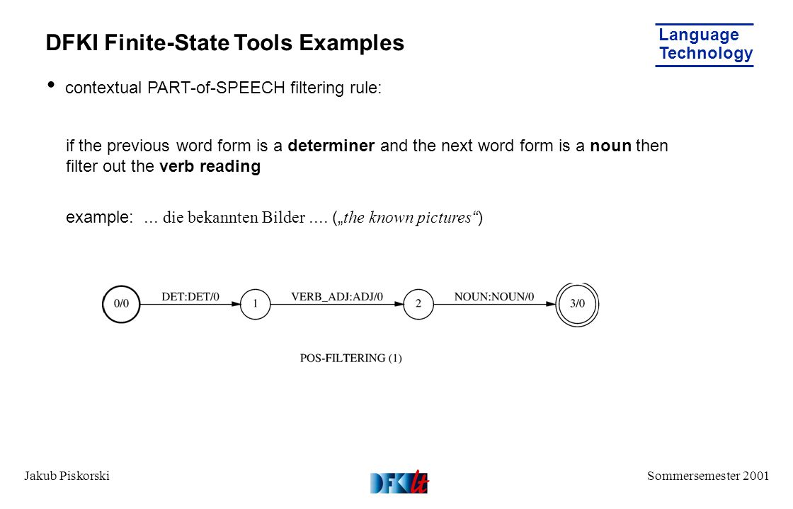 Sommersemester 2001 Language Technology Jakub Piskorski DFKI Finite-State Tools Examples contextual PART-of-SPEECH filtering rule: if the previous word form is a determiner and the next word form is a noun then filter out the verb reading example:...