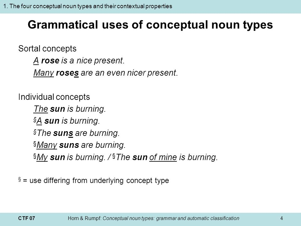 CTF 07Horn & Rumpf: Conceptual noun types: grammar and automatic classification4 Sortal concepts A rose is a nice present.