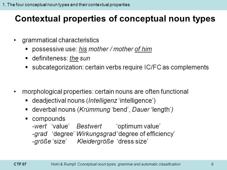 CTF 07Horn & Rumpf: Conceptual noun types: grammar and automatic classification7 2.